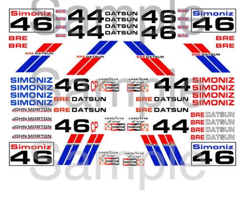 1:24 scale model car 1:32 Bre Datsun water-slide decals 1:64