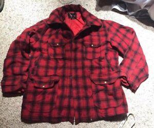 1960s-Woolrich-Mackinaw-Coat-Vintage-Men-039-s-Wool-Red-Buffalo-Plaid-Hunting-Jacket
