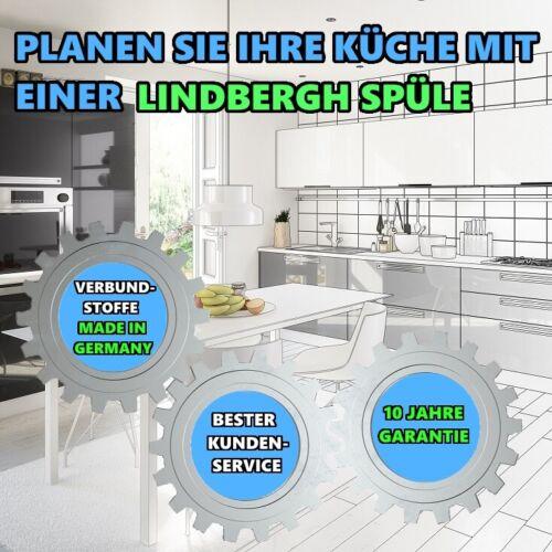 """LINDBERGH® Granit Spüle Schwarz /""""SIM/"""" Siphon Einbauspüle Küchenspüle Spülbecken"""