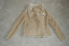 All Saints Beige Wrap Biker Sheepskin Leather Jacket Coat Womens UK 8 US 4 BNWT