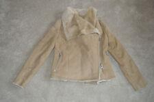 All Saints Beige Wrap Biker Sheepskin Leather Jacket Coat Womens UK 8 US 4 BNWT