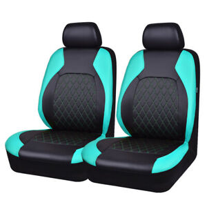 Universal PU Leather 2 Front Car Seat Covers Waterproof Airbags side Gray 6 PCS