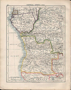 1914 Map Central Africa East Kenia Colony Tanganyika Rhodesia