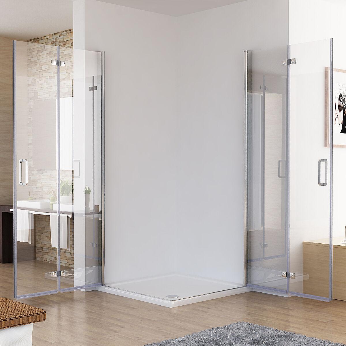duschkabine eckeinstieg dusche faltt r duschwand duschabtrennung nano glas 195 d ebay. Black Bedroom Furniture Sets. Home Design Ideas