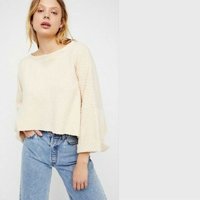 Free People OB769077 I Can/'t Wait Cropped Oversized Sweater in Cream $108