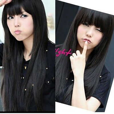 Fashion Womens lady Full Long Straight Wigs Cosplay Party/Costume Hair Wig Black