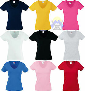 T-shirt-Donna-Woman-LADY-FIT-Scollo-a-V-FRUIT-OF-THE-LOOM-Maglietta-Manica-Corta