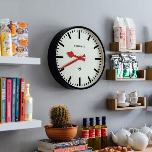 NEWGATE CLOCKS Putney Large Black Station Round Analogue Wall Clock Kitchen 45cm