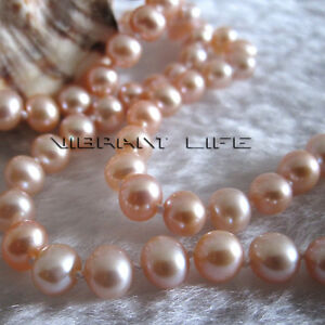 16-034-5-6mm-Peach-Pink-AA-Freshwater-Pearl-Necklace-Child-Jewelry-L-AC
