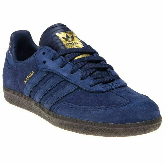 CQ2089 Boys adidas azul Samba Suede Trainers Retro Lace Up Talla 7-13