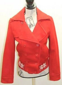 ES Etam Sports Red Wool Women Jacket Double Breasted Bomber Small Lined