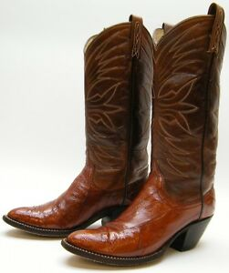 24be6d1d29c Details about WOMEN VTG DAN POST GENUINE REAL EEL SKIN BRN TALL COWBOY  WESTERN BOOTS 5.5~1/2 C