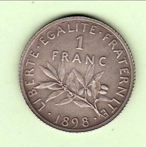 Intelligent Viel Argent Qualité Rare 1 Franc Semeuse Top ètat**