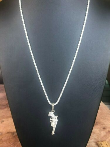 925 Sterling silver  Gun Revolver Movable Chamber Pendant 24;Long Necklace