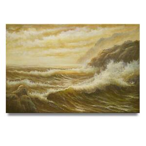 NY Art - Dramatic Crashing Waves Seascape 24x36 Original Oil Painting on Canvas!