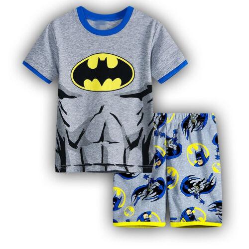Boys Kids Short Pyjamas Batman Super Mario Short Sleeve T-Shirt Shorts Sleepwear