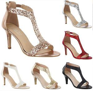 Damas Tacón Alto Brillo Brillante Sandalias Zapatos T-bar de noche de fiesta de baile de graduación talla 3-8