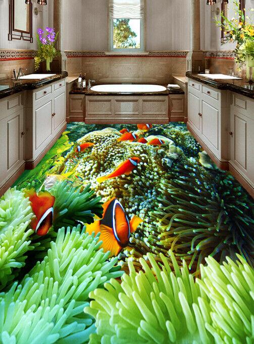3D Small Fish Coral 5 Floor WallPaper Murals Wall Print 5D AJ WALLPAPER UK Lemon