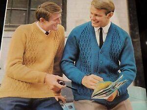 """Acheter Pas Cher Knitting Pattern Homme Garçons Cardigan Et Pull Dk 36-46"""" Vintage-afficher Le Titre D'origine"""