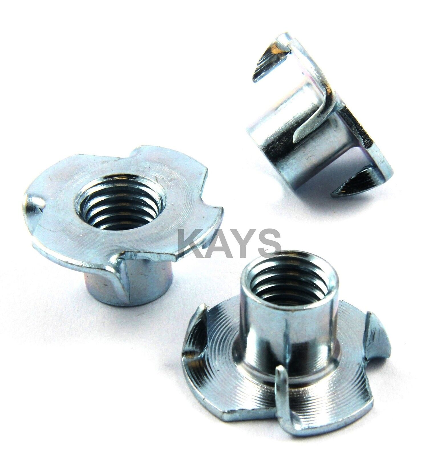 FOUR PRONGED T NUTS CAPTIVE THREADED INSERTS FOR WOOD FURNITURE M4,M5,M6,M8,M10