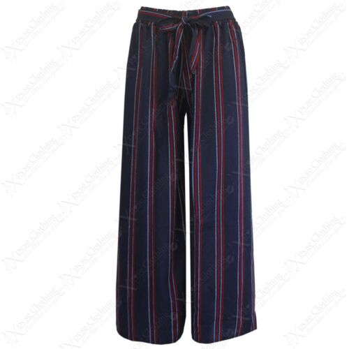 NEW LADIES STRIPE PRINT PALAZZO CLASSIC TROUSER WOMEN TIE BELT FLARED LEG PANTS