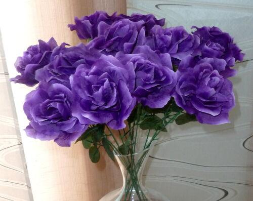5 X Roses Violet Art Fleurs-Soie Fleurs