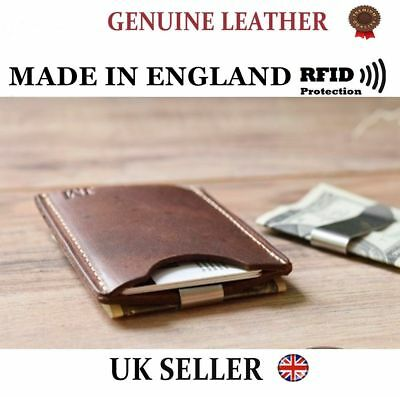 Hell Uk Made Minimalist 100% Genuine Real Leather Credit Rfid Card Holder Wallet Id