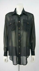 Shirt S Top Blouse Silk Blk Authentic Shear Dnm Size x7waYURg