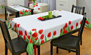 New-White-Tablecloth-Dining-Room-Stain-Resistant-Tulips-floral-Polyester