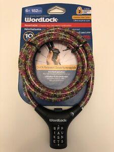 WORDLOCK RESETTABLE 10K WORD COMBINATION 6/' x 10MM CABLE BIKE STEEL PADLOCK LOCK