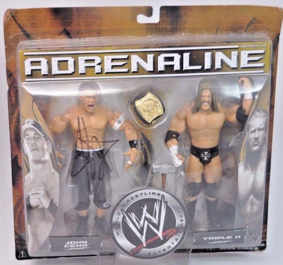 Adrenalina Triple H Jon cena autografiada por Cena Wwe Lucha Libre figuras serie 20
