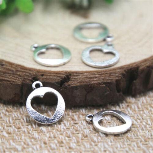 50pcs Valentine Love heart Charms silver tone Love heart Charms pendants 12x15mm