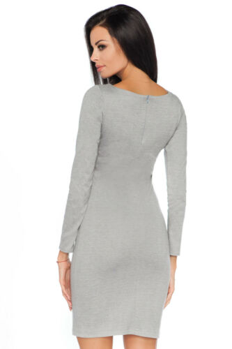 Womens Plain Bodycon Fitted Mini Dress Boat Neck Long Sleeve Sizes 8-14 FA460