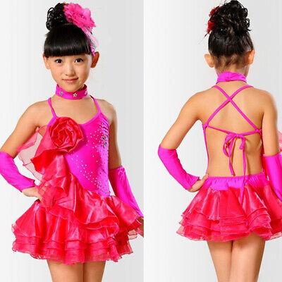 Girls Ballroom dancing dress Kids tango dress latin skirt Waltz dance  costumes