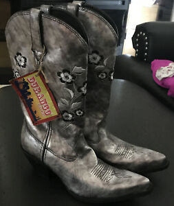 "NWT Durango 12"" Boots Flower Embroidered Scroll Western Grey P113806 Women's 10M"