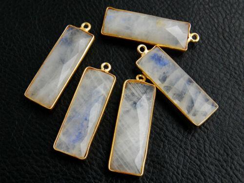 Vermeil Bezel White Moonstone Faceted Rectangle Semi Precious Gemstone Pendant