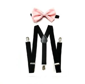 New Blush Pink Bowtie and Black Suspenders SET Tuxedo Wedding Suit