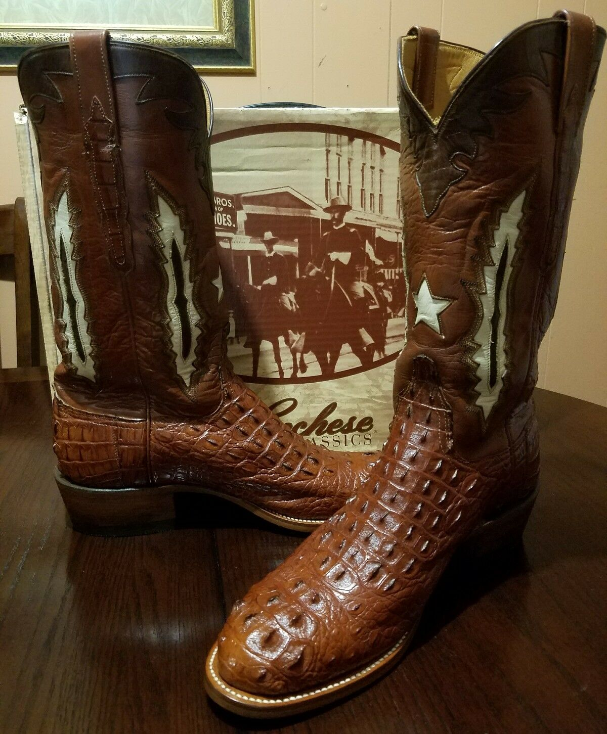 Lucchese Hecho a Mano Marrón Cuerno Back Cocodrilo Western Cowboy botas e (ancho)