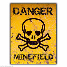 METAL SIGN WALL PLAQUE DANGER MINEFIELD Humorous Funny poster print hanging