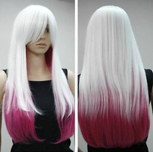 Belle-longue-perruque-blanche-mixte-rose-cosplay-wig-Hairnet