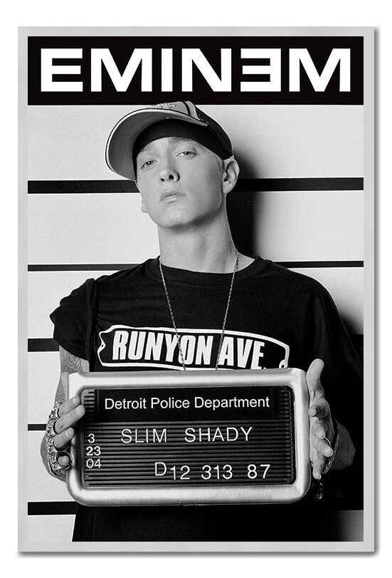 Eminem Slim Shady Mugshot Large Magnetic Notice Board Includes Magnets