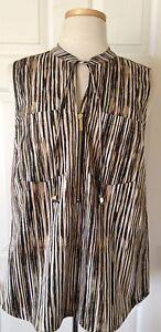 120-NWT-Womens-Michael-Kors-MK-Charm-Sleeveless-Striped-1-2-Zip-Blouse-Shirt-10