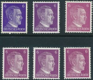 Sales Stamp Germany 1941 WWII 3rd Reich Hitler 6 PF Shades MNH 2
