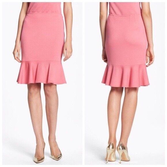 New  395 St John Womens size 6 Wool Flounce Hem Milano Knit Pencil Skirt Pink
