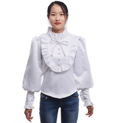 1pc Ladies Retro Ruffled Blouse White Victorian Collared Tops Long Sleeve Shirts