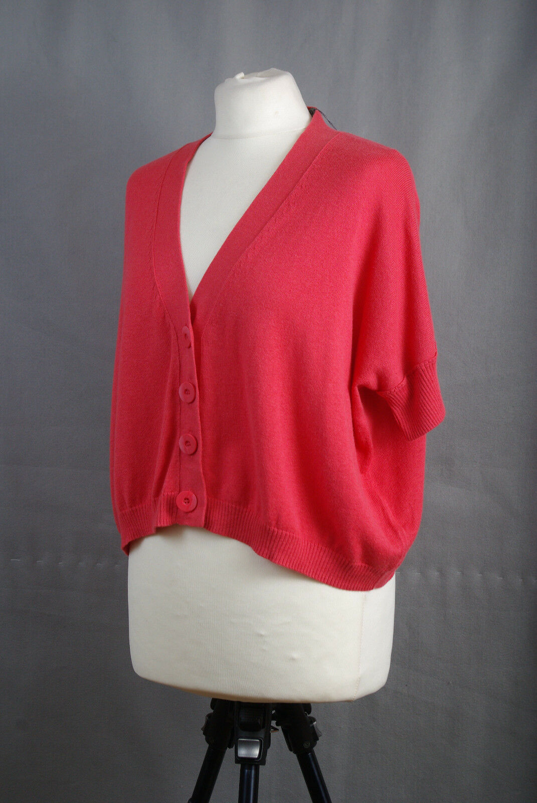L147 01 BNWT Pied a Terre Nomad Pomegrante Cotton Cashmere Oversize Cardigan,10