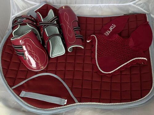 Veil /& Boots Set Burgundy /& Grey Pinnacle CC Saddle Pad high quality