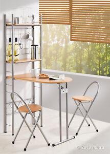 Küchentisch mit Regal und 2 Stühlen, klappbar, Bar Holz ...