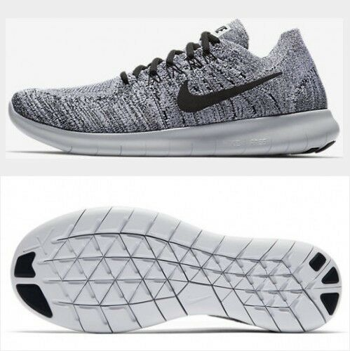 Nike Free RN Flyknit 2017 White Black Stealth Grey Mens Running shoes Size 14