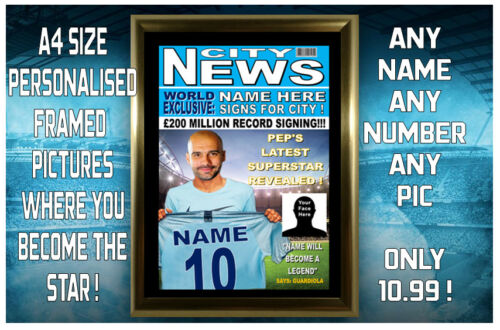 /& PICTURE.... ANY NAME MAN CITY FANS PERSONALISED /& FRAMED A4 PRINT NUMBER